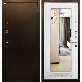 Входная дверь Ратибор Милан с Зеркалом (Медный антик / Ясень белый)