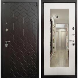 Входная дверь Ратибор Квант 3К с Зеркалом (ЭкоВенге / Лиственница беж)