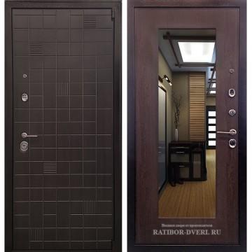 Входная металлическая дверь Ратибор Силуэт 3К с Зеркалом (ЭкоВенге / Венге капучино Винорит)