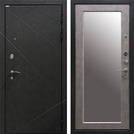 Входная дверь Ратибор Эстет 3К Зеркало (Штукатурка Графит / Бетон светлый)