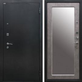 Входная дверь Ратибор Классик 3К Зеркало (Чёрное Серебро / Бетон светлый)