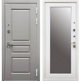 Входная дверь Ратибор Лондон 3К Зеркало (Грей софт / Силк сноу)