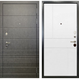 Входная дверь Ратибор Мегаполис 3К (Штукатурка графит / Силк сноу белый)