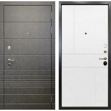 Входная металлическая дверь Ратибор Мегаполис 3К (Штукатурка графит / Силк сноу белый)