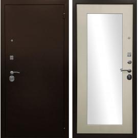 Входная дверь Ратибор Оптима 3К с Зеркалом (Медный антик / Лиственница беж)