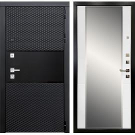 Входная дверь Ратибор Прима 3К зеркало (Черный кварц / Белый матовый)