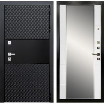 Входная металлическая дверь Ратибор Прима 3К зеркало (Черный кварц / Белый матовый)