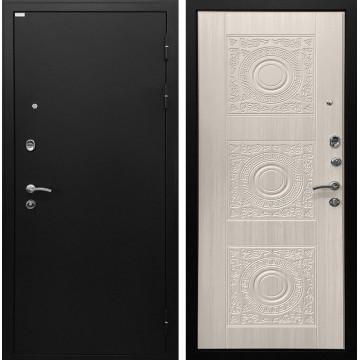 Входная металлическая дверь Ратибор Спарта (Чёрный шелк / Белый жемчуг)