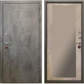 Входная дверь Ратибор Тетрис 3К с зеркалом (Бетон тёмный / Бетон светлый)