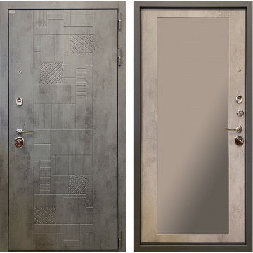 Входная металлическая дверь Ратибор Тетрис 3К с зеркалом (Бетон тёмный / Бетон светлый)