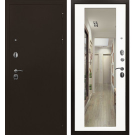 Входная дверь Ратибор Троя 3К с Зеркалом (Медный антик / Белый матовый)