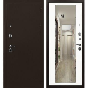 Входная металлическая дверь Ратибор Троя 3К с Зеркалом (Медный антик / Белый матовый)