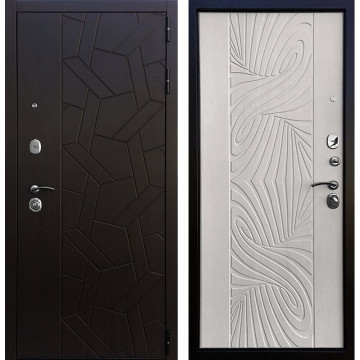 Входная металлическая дверь Ратибор Витраж 3К (Орех премиум / Лиственница беж)